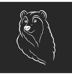 Bear head logo template emblem on black background vector image