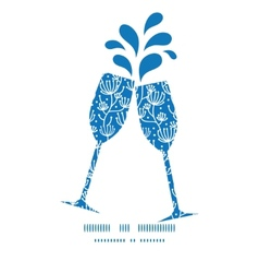 Blue white lineart plants toasting wine vector
