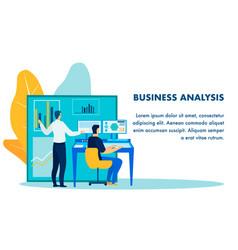Business analysis report flat banner template vector