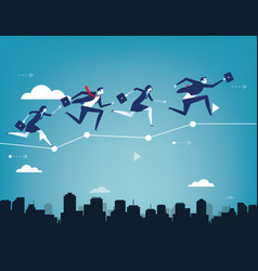 Business team balancing on chart concept vector