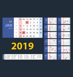 calendar 2019 blue set week starts on sunday vector image
