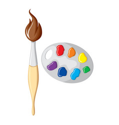 cartoon aintbrush and palette paints vector image
