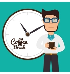Cartoon man coffee break graphic vector