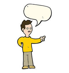 Cartoon shocked boy pointing with speech bubble vector