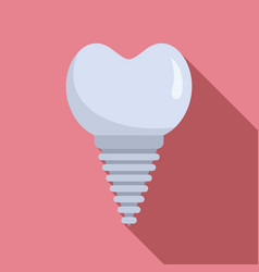 Ceramic tooth implant icon flat style vector