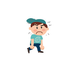 Character white boy with blue cap angry vector