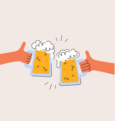 cheers international beer day two hands are vector image