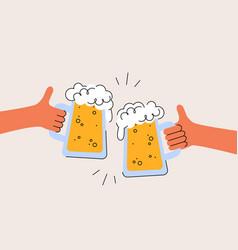Cheers international beer day two hands vector