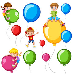 Children and colorful balloons vector