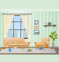 Children scattered toys in messy empty living room vector