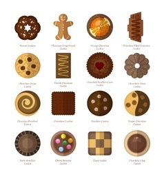 Chocolate cookie icons vector image