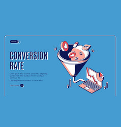 Conversion rate isometric web banner funnel sales vector