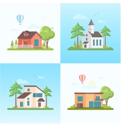 Country life - set of modern flat design style vector