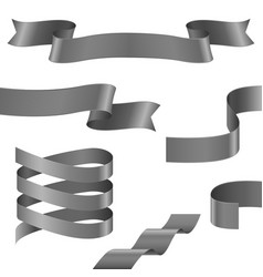 curled ribbons collection of gray silver ribbon vector image