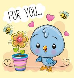 Cute cartoon bird with flower on orange background vector