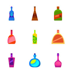 Different bottle icons set cartoon style vector