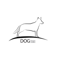 dog symbol pet logo design dog standing silhouette vector image