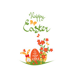 Easter background with rabbit and eggs vector