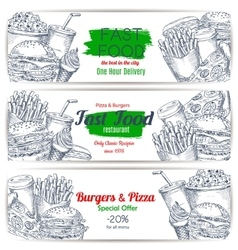 Fast food menu special offer sketch banner set vector