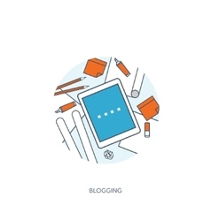 Flat tablet Tell your story vector image