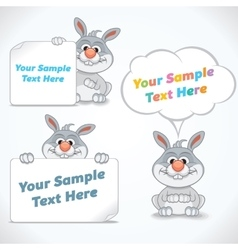 Funny Cartoon Rabbit with Banners vector image