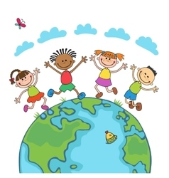 Globe kids Children Earth day vector