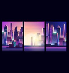 glow city landscape cyberpunk style urban vector image