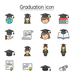 graduation icon set filled outline style vector image