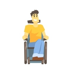 Guy In Wheelchair Young Person With Disability vector image
