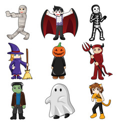 halloween monster icons vector image