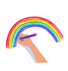 hand drawing rainbow arc vector image