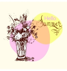 Hand drawn summer bouquet vector image