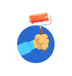 hand holding roller paint symbol of the vector image