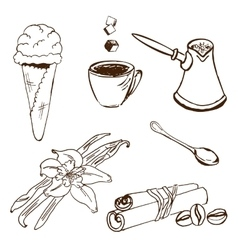 Handdrawn coffee accessories vector
