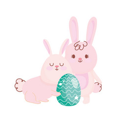happy easter bunnies with green egg decoration vector image