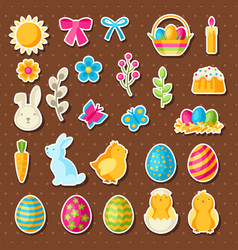 happy easter set holiday stickers vector image