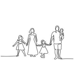 Happy family with three children vector
