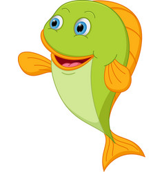 happy fish cartoon presenting vector image