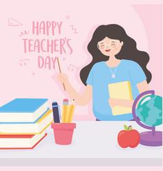 happy teachers day teacher school globe map apple vector image