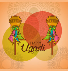 Happy ugadi celebration calendar indian festival vector