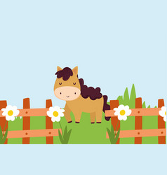 horse behind fence with flowers grass farm animal vector image