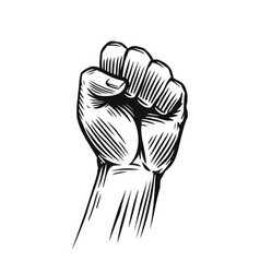 human clenched fist protest rebel vector image