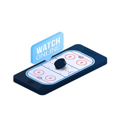 ice hockey online concept flat isometric online vector image