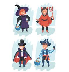 kid wearing halloween costumes vector image