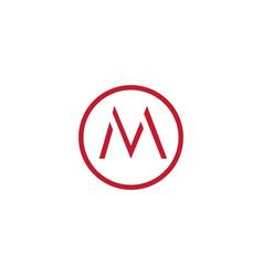 letter mv simple geometric line logo vector image