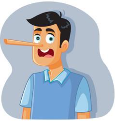 Liar man with long nose cartoon vector