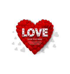 Love text white color with big heart on white vector