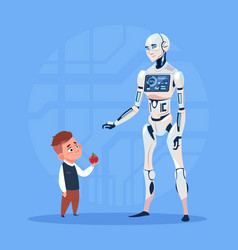 Modern robot communicating with small boy vector