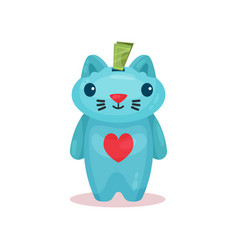 money box in shape of cat with hole in head and vector image
