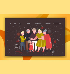 multi generation family standing together merry vector image